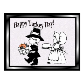 Pilgrim Children Happy Turkey Day - Customize It! Postcard