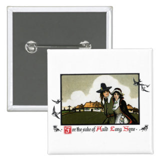 Pilgrim Couple Vintage New Year s Day Buttons