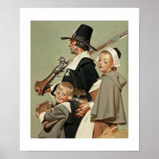 Pilgrim Family. Fine Art Poster