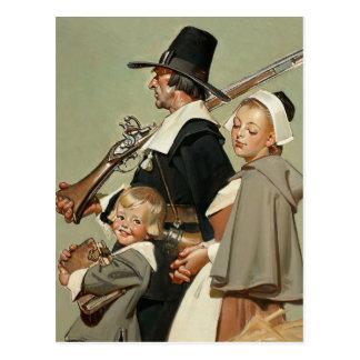 Pilgrim Family. Thanksgiving Postcards