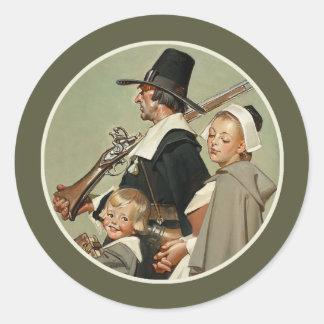 Pilgrim Family.Vintage Art Thanksgiving Stickers
