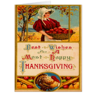 Pilgrim Harvesting Apples Turkey Feast Card
