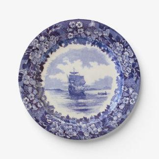 Pilgrim Paper Plates: Wedgwood Mayflower 7 inch. Paper Plate