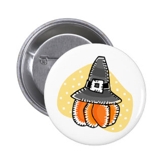 pilgrim pumpkin 6 cm round badge