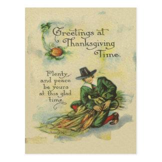 Pilgrim Thanksgiving Greetings Postcard
