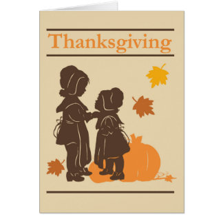 Pilgrim Thanksgiving Pumpkin Holiday Stamp Greeting Card