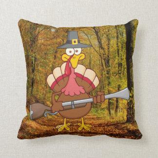pilgrim turkey holding musket pillow