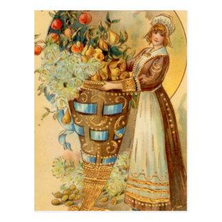 Pilgrim With Harvest Horn Postcard
