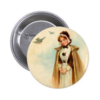 Pilgrim Woman Round Button