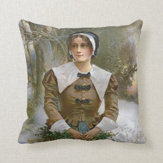 Pilgrim Young Woman Thanksgiving Accent Pillow
