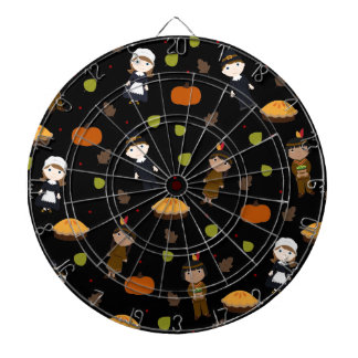 Pilgrims and Indians pattern - Thanksgiving Dartboard