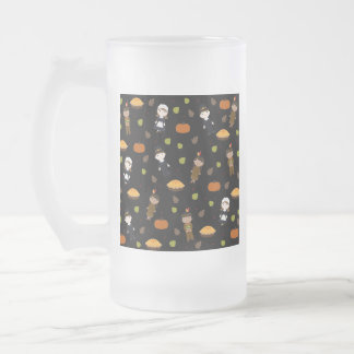 Pilgrims and Indians pattern - Thanksgiving Frosted Glass Beer Mug