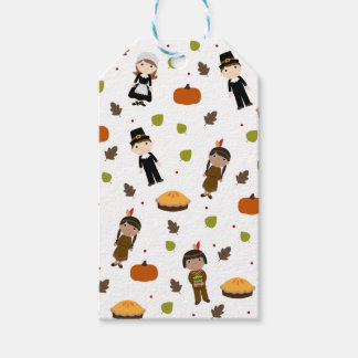 Pilgrims and Indians pattern - Thanksgiving Gift Tags