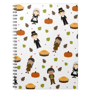 Pilgrims and Indians pattern - Thanksgiving Notebook
