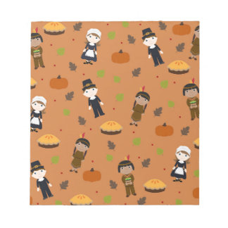 Pilgrims and Indians pattern - Thanksgiving Notepad