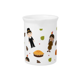 Pilgrims and Indians pattern - Thanksgiving Pitcher