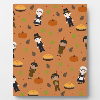 Pilgrims and Indians pattern - Thanksgiving Plaque
