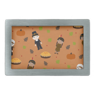 Pilgrims and Indians pattern - Thanksgiving Rectangular Belt Buckles