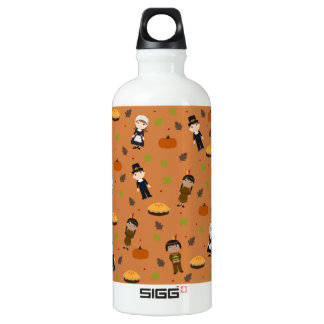 Pilgrims and Indians pattern - Thanksgiving Water Bottle