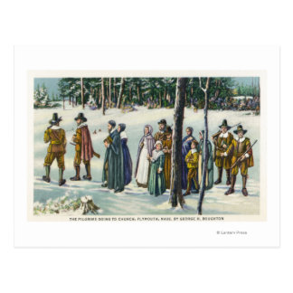 Pilgrims Going to Church in the Snow Scene Postcard