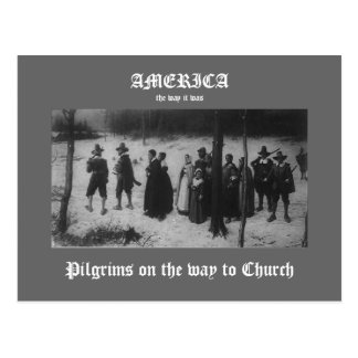 Pilgrims on the way to Church Postcard
