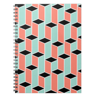 Pillars of Coral, Mint, and Black Notebook