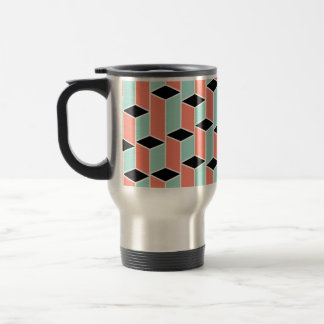 Pillars of Coral, Mint, and Black Travel Mug
