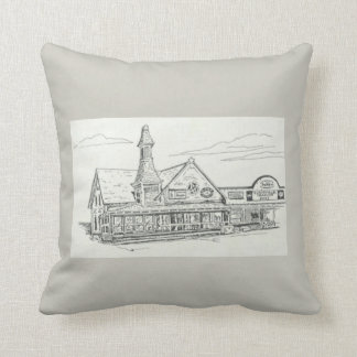 Pillow 16 x 16, country store, taupe, white