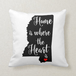 """Pillow - 16"""" x 16"""" Mississippi Home Heart"""