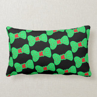 pillow bows green with red dots
