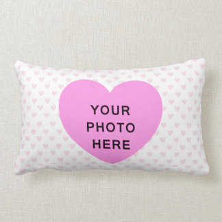 ♥ PILLOW CUSHION pink white hearts polka dot photo