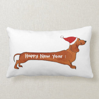 Pillow Dachshund Happy New Year