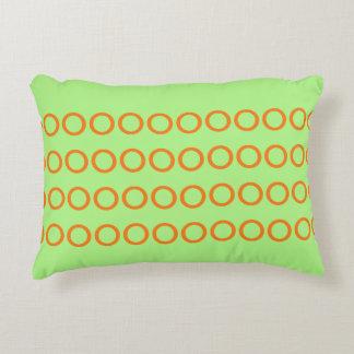 Pillow green with circles orange