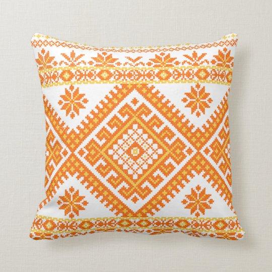 Pillow LARGE Orange Ukrainian Embroidery