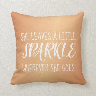 Pillow - Leaves Sparkle Confetti Copper
