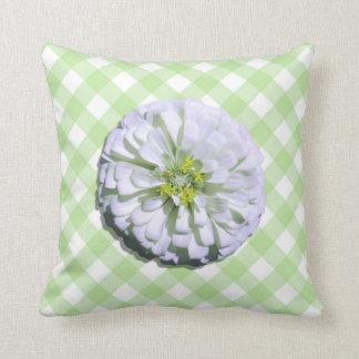 Pillow - Lemony White Zinnia on Lattice