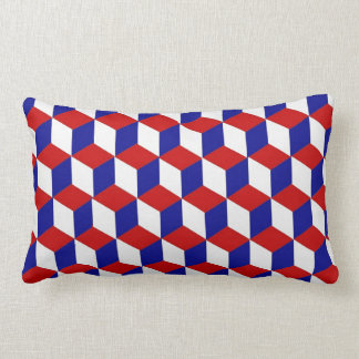 Pillow (lumbar) - Block illusion red, white, blue