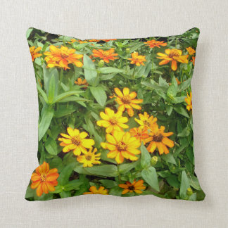 Pillow of Yellow and Gold Zinnias flowers.