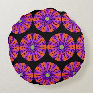 Pillow. Purple star. Orange & black backgrounds. Round Cushion