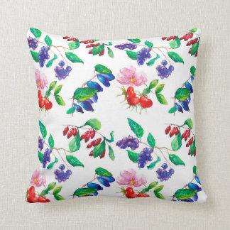 Pillow watercolor fruit bushes