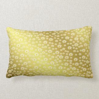 pillow, white blossom in gold lumbar cushion