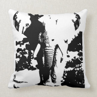 Pillow with black and white print elephant