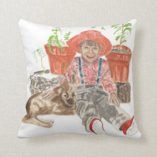 Pillow with boy and his dog watercolors throw cushion
