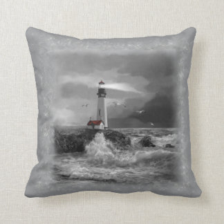 Pillow with Lighthouse and Ocean