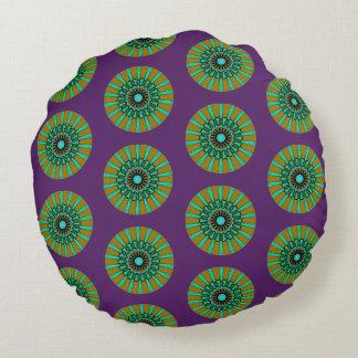 Pillow. Yellow green. Purple background. Round Cushion