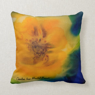 Pillow: Yellow Sunflowers on a rich blue backgroun Cushion