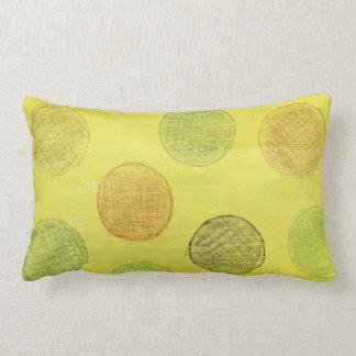 Pillow, yellow with polka dots. lumbar cushion