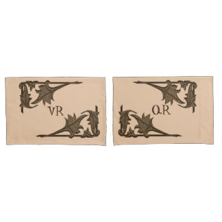 Pillowcase - Leafy Brackets with Initials