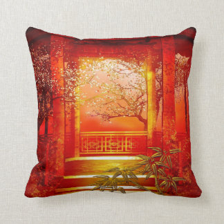 Pillows Asian Gold Red Bamboo Blossom Cushion