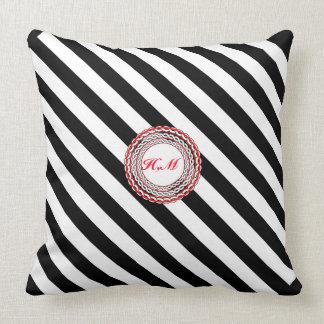 Pillows-elegant designed,Black&white stripes+name Throw Pillow